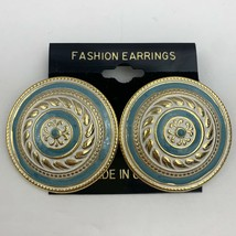 Vintage Big Round Textured Enamel Earrings Blue Gold Tone Pierced Medallion - $11.84