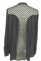 FREE PEOPLE WOMENS XS Black Crinkle Boho Hippie Tunic Top Blouse LACE IN... - $39.00