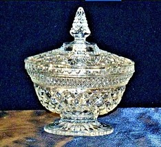 Vintage Heavy Etched Glass Candy Dish with detailed designs AA19-LD11920