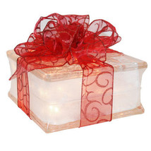 """Holiday Decoration Lighted Glass Block with 4"""" White Border - Sheer Red ... - $34.60"""