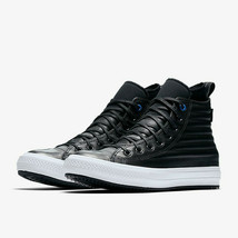 Converse Mens CTAS Hi Waterproof Boot Quilted Leather 157492C Black/Whit... - $74.99