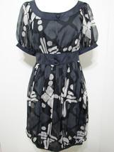 Diane von FURSTENBERG 100% Silk Gray White Puff Sleeve Pleated Bubble Dress - $179.99