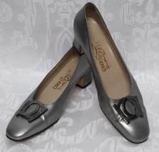 Vintage Salvatore Ferragamo Silver Leather Pumps Sz.8A Slip On High Heel... - $38.67