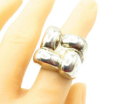 MEXICO 925 Silver - Vintage Shiny Square Dome Design Band Ring Sz 8 - R1... - $84.99