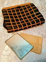 Vintage Black w/ Gold Square Design Evening Clutch Purse W/ Original Mirror image 9