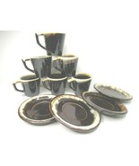 10 Pc Pfaltzgraff Brown Drip VTG (6) D Ring Handle Coffee Mugs (4) Cup Saucers - $69.17