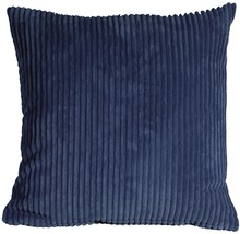 Pillow Decor - Wide Wale Corduroy 22x22 Dark Blue Throw Pillow - £34.43 GBP