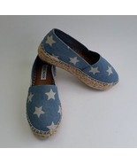 Steve Madden Shoes Slip On Espadrilles Denim Stars Blue White Talan Size... - $49.46