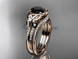Black Diamond Butterfly ring 14kt rose gold diamond wedding ring set ADLR514S - $2,595.00