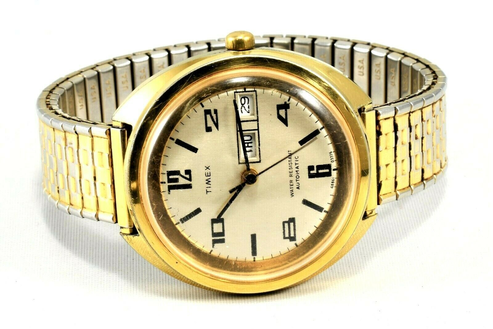 1976 Britain Timex Viscount Automatic Watch Day Date Big Dial Excellent Running - $79.19