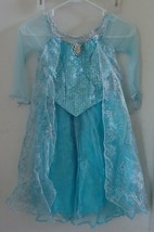 FROZEN ELSA AUTHENTIC DISNEY PARKS Costume Dress Halloween SZ 6 Blue Sil... - $46.74