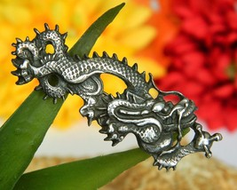 Vintage Chinese Imperial Dragon Serpent Brooch Pin Silver Figural  - $39.95