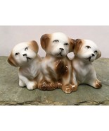 "Dog Trio Porcelain Ceramic Figurine 4"" x 2-1/2"" Made In Japan Vintage  - $22.99"