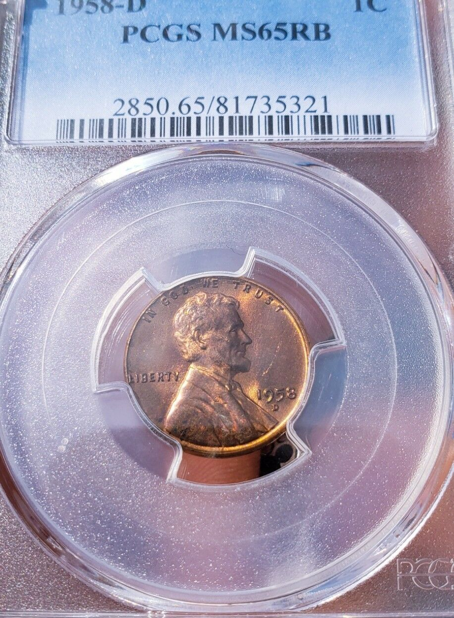 1958 D MS65 RB LINCOLN WHEAT CENT * RAINBOW TONING *   .