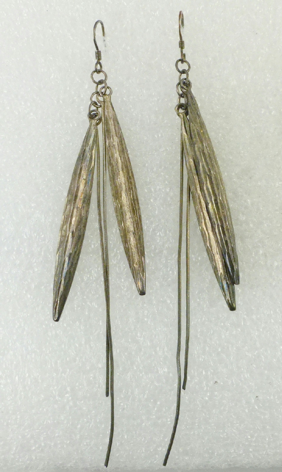 Primary image for Native American Long FEATHERS Sterling Silver Vintage EARRINGS - 4 inches long