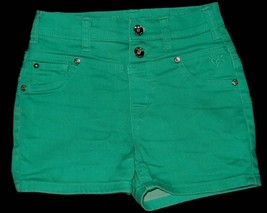 Justice Green Denim Shorts Size 12R 12 Regular - $9.49