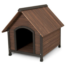 Brown Wood Dog House Large Wood Metal Stationary Outdoor Pet Furniture Home - $189.61