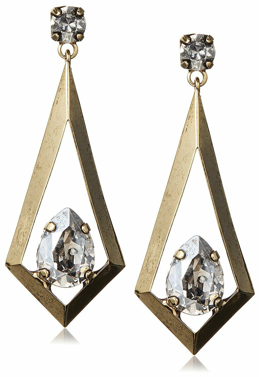 Tova 14mm x 10mm Swarovski Clear Crystal Gold Tone Triangle Kite Drop Earrings