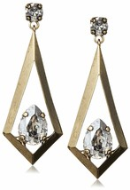 Tova 14mm x 10mm Swarovski Clear Crystal Gold Tone Triangle Kite Drop Earrings image 1