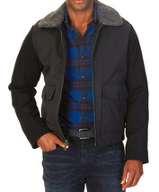 New Nautica Removable Sherpa Collar Black Bomber Jacket S $228 - $69.99