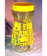 Federal Glass Juice Carafe Lemon Slices With Yellow Plastic Lid - $4.40