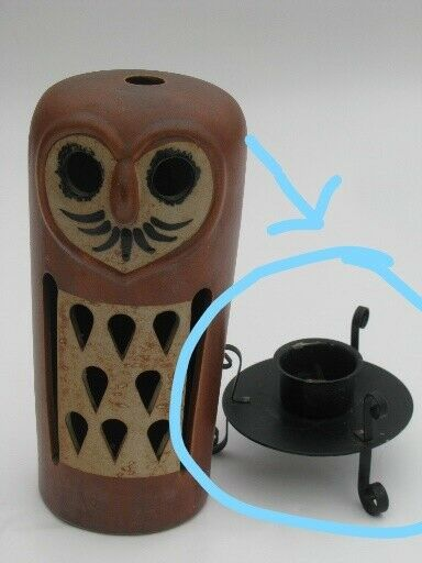 Tall Pottery Abstract Brown Owl Candle Holder Display Décor Accent Piece Vintage