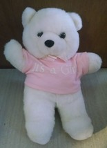 "White Pink ""It's a Girl"" Baby Stuffed Bear Animal Toy 11"" Tall Oshko - $7.91"
