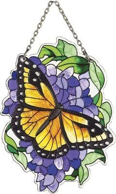 Joan Baker Designs SSB1007 Monarch and Wisteria Art Glass Suncatcher, 3-Inch by