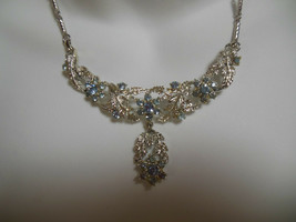 Vintage Designer Silver-tone Blue Rhinestone Necklace  - $18.80