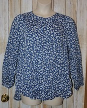 Womens Blue White Floral Old Navy Long Sleeve Shirt Size XL excellent - $7.91