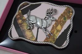 Nocona RUNNING Buck DEER PINK CAMO Belt Buckle  Western Scroll Design 37102 - $21.78