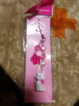 Tokyo Disney Resort Aristo cats Marie strap key mascot with pink flower  - $38.61