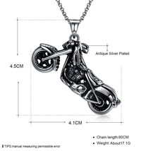 Skeleton Motorcycle Stainless Steel Handmade Necklace Pendant Fashion Jewelry image 2