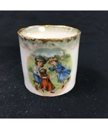Antique Child's Tea Cup Demitasse Mug 3 Children Dancing Ring Around The Rosie - $17.81