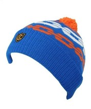 Crooks & Castles Royal Blue Orange Mens Chainlink Pom Pom Beanie Winter Ski Hat