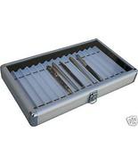 ALUMINUM PEN CASE BOX ORGANIZER Antique PEN COLLECTION /Holds 15 pens Br... - $38.65