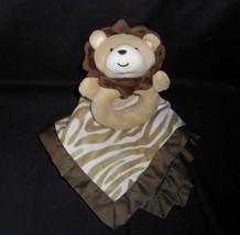 CARTER'S Bébé Marron Zèbre Lion Hochet & Sécurité Couverture Animal en Peluche - $19.80