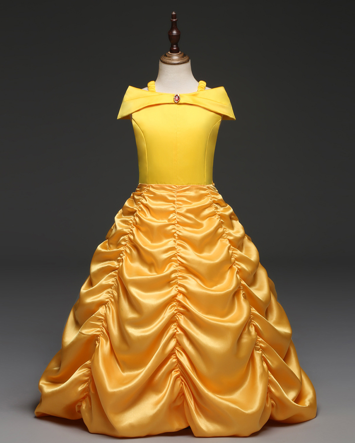 Yellow Kids Prom Ball Gown Tea Length Princess Pageant Wedding