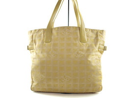 Auth CHANEL Travel line Canvas Leather Yellow Tote Bag CT6242L - $199.00