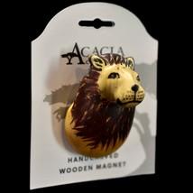 Acacia Creations Hand Carved Jacaranda Wood Safari African Lion Magnet - $245,42 MXN
