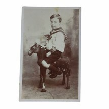 RPPC Real Photo Postcard Little Boy In Sailor Suit On Hobby Horse Toy En... - $23.24