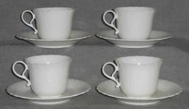Set (4) MIKASA Bone China WHITE SILK PATTERN Cups and Saucers MADE IN JAPAN - $69.29