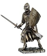"Crusader Knight Statue Silver Finishing Cold Cast Resin Statue 7"" (8714) - $31.54 CAD"