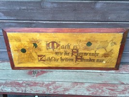 Antique Carved Folk Art GERMAN Wooden Kitchen Board w Sunflowers Motto 1... - $227.65