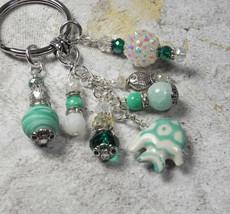 Fish Beach Theme Crystal Glass Beaded Handmade Keychain Split Key Ring G... - $16.58