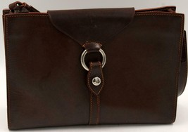 Dooney & Bourke Alto mbf7 large ring flap Brown Leather Shoulder Bag - $170.99