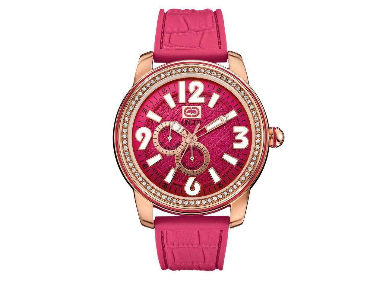 "Brand New Marc Ecko Multifunctional"" Pink Rubber Men Watch E13544G2 RARE - $72.70"