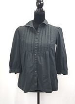 Calvin Klein Women's Cotton Long Sleeve Black Collared Shirt Size Small - $16.08