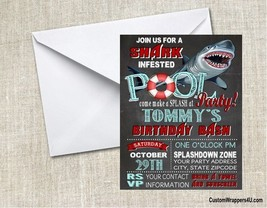 Shark Pool Chalkboard Birthday Party Invitations Personalized Custom - ₨77.28 INR+