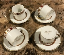 Vtg 8 Pc Fitz & Floyd Fleur Orientale 4 Demitasse Cups & Saucers Rust Red Gold - $63.68